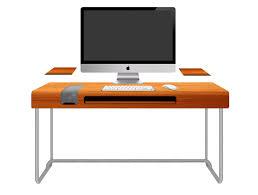 rectangle orange imac computer desk with grey alumunium bases of
