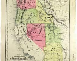 map of oregon nevada mcnally oregon map etsy