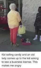 kid selling candy and an old lady comes up to the kid asking to see