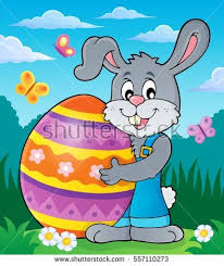 big easter bunny bunny resting beside easter eggs vector stock vector 72866971