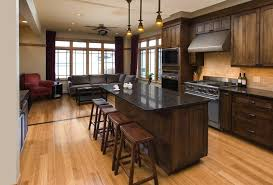 black walnut cabinets kitchen traditional with light wood floor