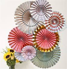 diy paper fans 4 sets 32pcs foil gold hanging paper fans mint rosettes diy