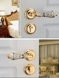 Interior Door Locks European Simple Wooden Ceramic Split Lock Imitation Bronze