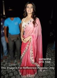 Buy Samantha Bollywood Replica Green Samantha Pink Net Saree