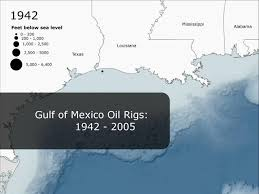Map Gulf Of Mexico by Gulf Of Mexico Oil Rigs 1942 2005 Youtube