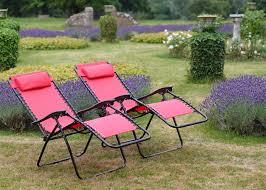 Chair In Garden Set Of 2 Vinsani Textoline Gravity Reclining Garden Chairs In