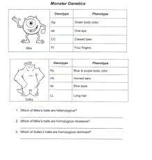 monsters inc punnett square practice life science homework