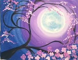 how to paint a cherry blossom tree with moon by painting