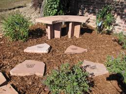 beauti stone garden bench