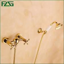 flg wall mounted bathtub font faucet with ceramic hand shower