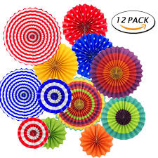 amazon com hanging fiesta paper fan colorful round wheel disc