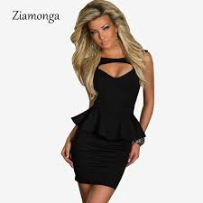 hot dress hot sale plus size m l xl hollow out chest peplum dress women