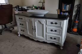 Repurposed Bathroom Vanity by Diy Repurposing A Buffet Or Dresser As A Bathroom Vanity Part 2
