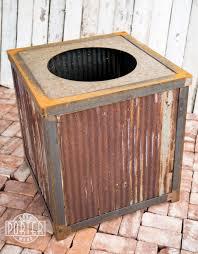 modern industrial reclaimed corrugated metal trash can porter