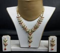 crystal diamond necklace images Gold crystal diamond necklace set dheer collection ahmedabad jpg
