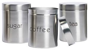 designer kitchen canister sets sugar coffee and tea stainless steel canisters set of 3