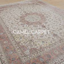 Pink Oriental Rug Traditional Hand Knotted Silk Pink Persian Rug Camel Carpet