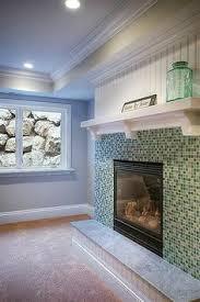 Mosaic Tile Fireplace Surround by Glass Mosaic Tiled Fireplace Surround With Wall Mounted T V