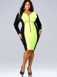 plus size neon yellow colorblock dress unique womens fashion