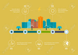 ecology illustration infographic elements flat design city
