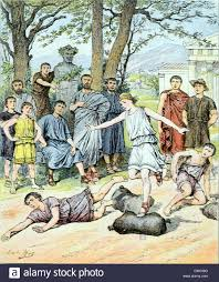 harvest festival and games in ancient greece or ancient rome stock