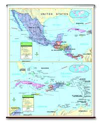 Central America Political Map by Spring Roller Wall Maps One Map Place Inc