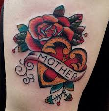 traditional tattoo heart and flower labeled 252 jpg 500 512 pixels
