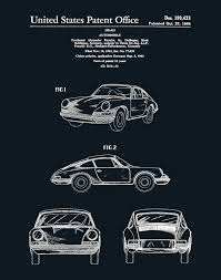 porsche 911 poster patent 1964 porsche 911 carrera sports car poster wall art
