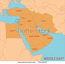 middle east map with country name middle east simple map country names stock vector 704419237