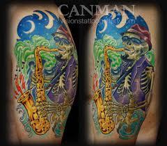 paradise tattoo gathering tattoos canman jazz saxophone skeleton