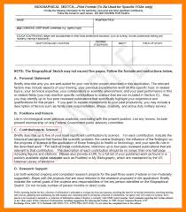 6 biographical sketch format references format
