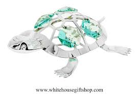 ornament silver painted turtle ornament or desk model turquoise
