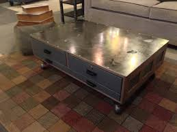 industrial coffee table made from vintage flat file cabinet