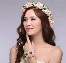 flower hair rings images New lady wedding bridal flower wreath garland bracelet set jpg