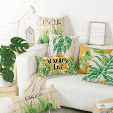 green leaves throw pillows for grey couch watercolor decorative