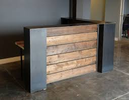 Retail Reception Desk Stained Pine And Steel Point Of Sale Counter Or Reception Desk
