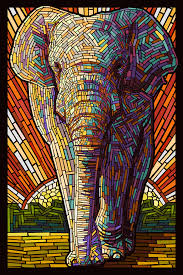artwork on wood asian elephant paper mosaic 7 x 10 wood plaques signs