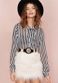White Blouse With Black Bow Black White Striped Print Bow Collar Chiffon Blouse Blouses Tops