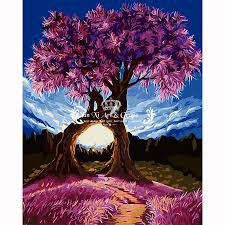 psychedelic home decor millennium love u0026 tree lover painting by numbers of flower diy