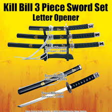 this is the kill bill 3 piece sword set letter opener with stand