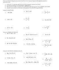 algebra solving simple linear equations