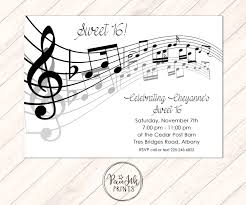 music notes invitation musical party sheet music invitation