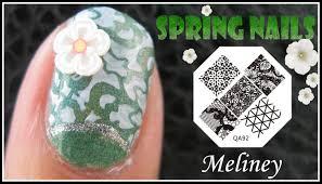 spring nails flower print konad stamping nail art design