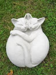 Cement Garden Decor Cat Statue Cuddling Kitties Concrete Figure Cement Garden Decor