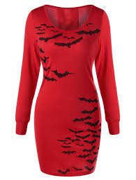 long sleeve dresses red 2xl halloween bat pattern lace up dress