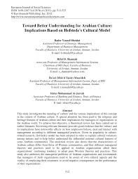 toward better understanding for arabian culture implications