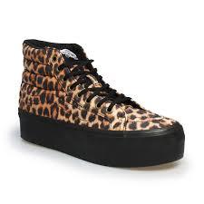 womens vans boots sk8 hi platform leopard black fashion sneakers trainers size