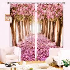 stunning pink flowers trees 3d digital printing curtain on sale