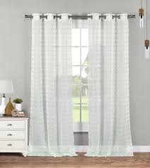 2 sheer grommet window curtain panels white with mint tufts 76w