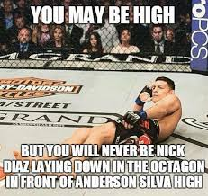 Anderson Silva Meme - you may be high but you will never be nick diaz laying down in the